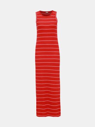 Červené pruhované žebrované basic maxišaty Jacqueline de Yong Nevada