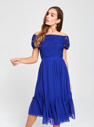 Tmavomodré šaty s odhalenými ramenami a krajkou Little Mistress