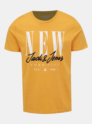 Žlté tričko s potlačou Jack & Jones City Sign