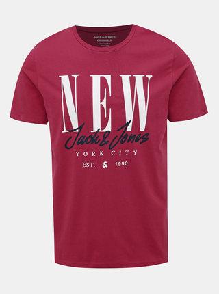 Červené tričko s potlačou Jack & Jones City Sign
