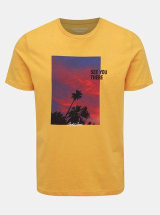 Žlté tričko s potlačou Jack & Jones Huward