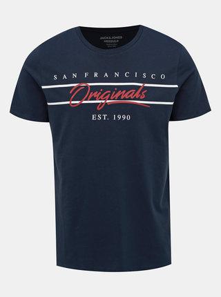 Tmavě modré tričko Jack & Jones City Sign