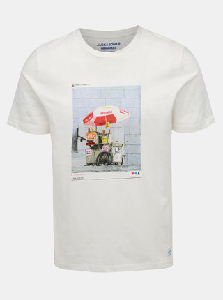 Biele tričko s potlačou Jack & Jones Renzu