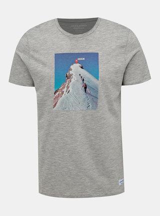 Šedé tričko s potlačou Jack & Jones Renzu