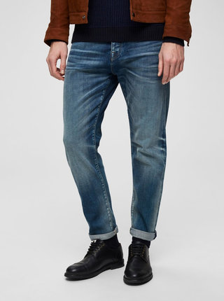 Modré tapered fit džíny Selected Homme Toby