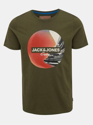 Kaki tričko s potlačou Jack & Jones Autumn
