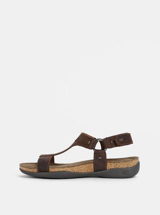 Tmavohnedé dámske kožené sandále Keen Kaci Ana