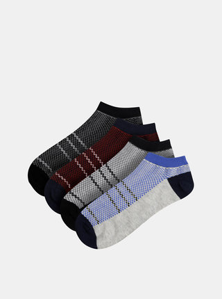 Sada štyroch parov šedých ponožiek Jack & Jones Net