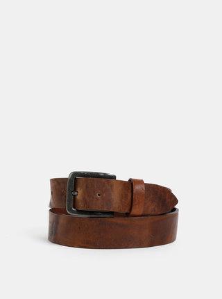 Hnědý kožený pásek Jack & Jones Victor