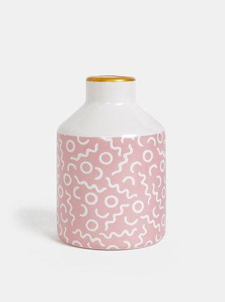 Růžovo-bílá vzorovaná váza Sass & Belle