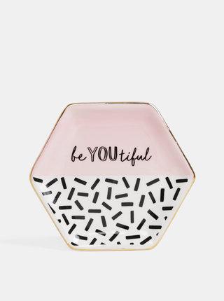 Krémovo-růžový talířek na šperky s potiskem Sass & Belle