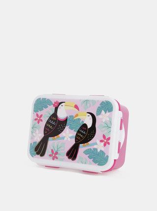 Růžový svačinový box s potiskem Sass & Belle