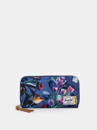 Tmavomodrá dámska kvetovaná peňaženka Herschel Supply Thomas