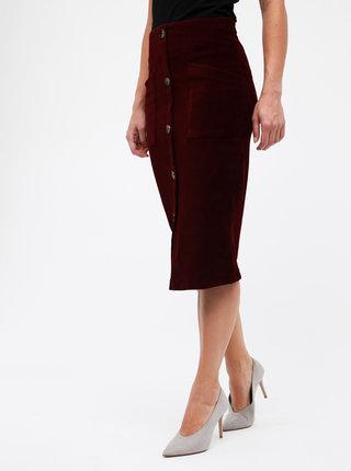 Vínová rebrovaná sukňa TALLY WEiJL Cojimi