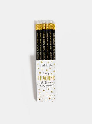 Sada šiestich čiernych ceruziek Sass & Belle