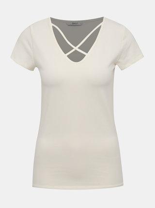Krémové tričko s pásikmi v dekolte ONLY Live