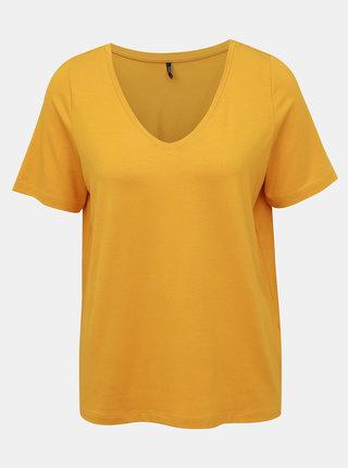 Žlté voľné basic tričko ONLY Moster