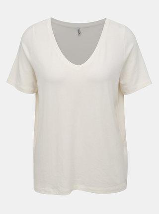 Krémové voľné basic tričko ONLY Moster