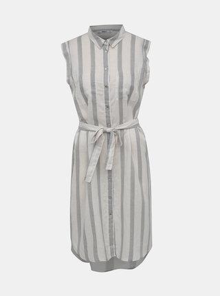 Černo-bílé pruhované košilové šaty s příměsí lnu ONLY Salli Life