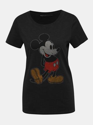 Černé tričko s potiskem ONLY Mickey