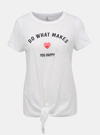 Biele tričko s potlačou ONLY Bine