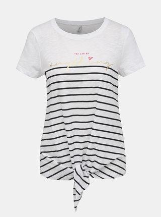 Bílé vzorované tričko ONLY Bine