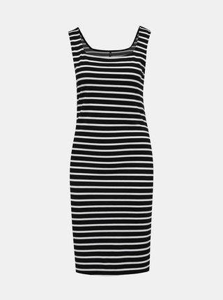 Bielo-čierne pruhované basic šaty ONLY Maggie