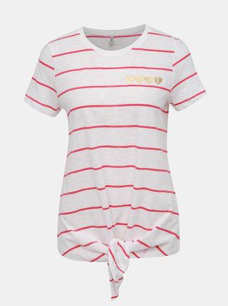 Bílé pruhované tričko s potiskem ONLY Bine