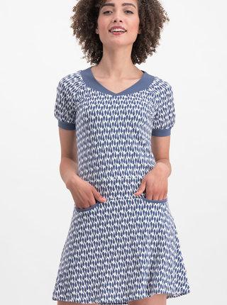Bielo-modré vzorované šaty Blutsgeschwister