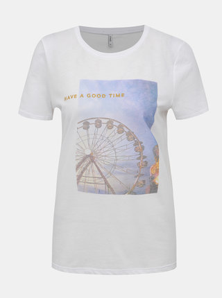 Bíle tričko s potiskem ONLY Indre