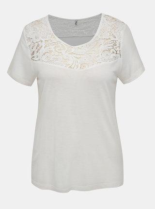 Biele tričko s krajkou ONLY Alba