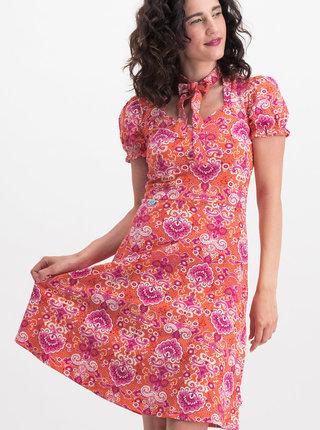 Rúžovo-oranžové vzorované šaty s odnímateľnou mašľou na krku Blutsgeschwister