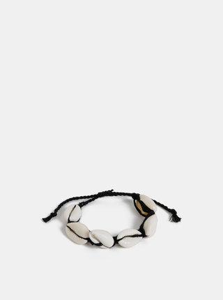 Černo-krémový náramek s mušlemi ONLY Skylar
