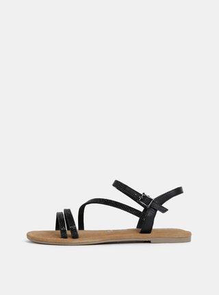 Černé kožené sandále Tamaris
