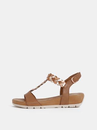 Hnedé kožené sandále na plnom podpätku Tamaris