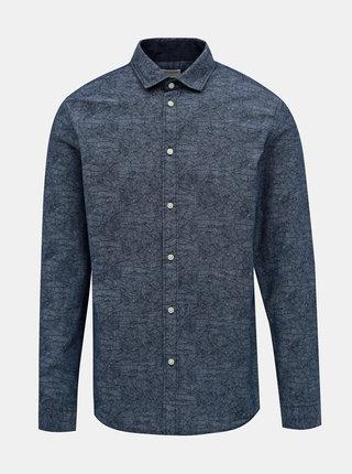 Tmavomodrá vzorovaná slim fit košeľa Selected Homme Mark