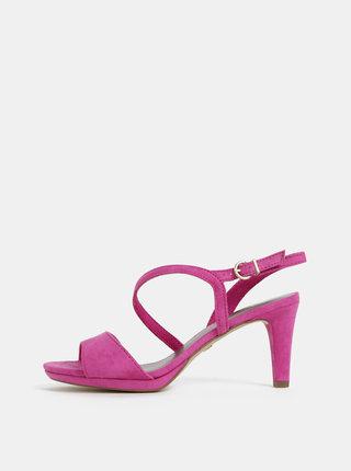 Tmavorúžové sandálky v semišovej úprave Tamaris