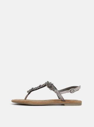 Kožené sandále v striebornej farbe s ozdobnou aplikáciou Tamaris