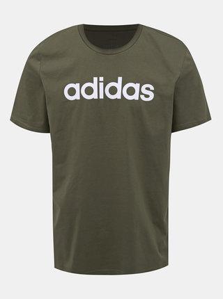 Kaki pánske tričko s potlačou adidas CORE Lin