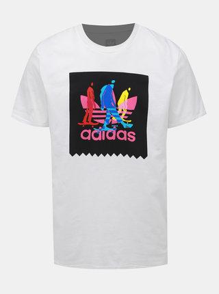 Biele pánske tričko s potlačou adidas Originals Caruthers