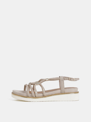 Béžové semišové sandále na plnom podpätku Tamaris