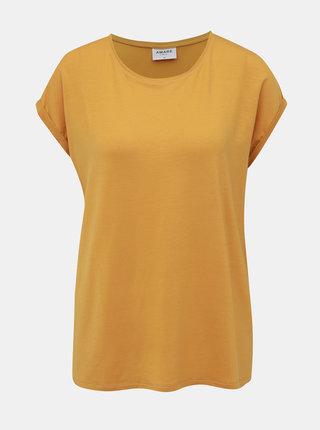Horčicové basic tričko VERO MODA AWARE Ava