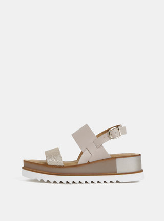 Béžové kožené sandále na platforme Tamaris