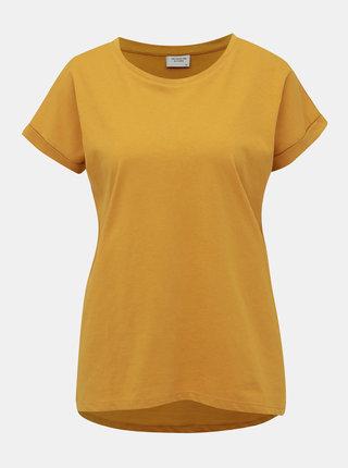 Horčicové basic tričko Jacqueline de Yong Louisa