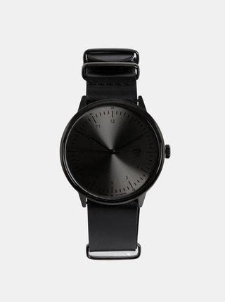Ceas unisex negru din piele CHPO Harold Metal