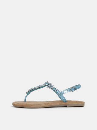 Tyrkysové kožené sandály s ozdobnou aplikací Tamaris