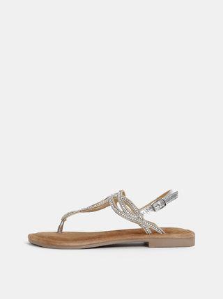 Kožené sandále v striebornej farbe Tamaris