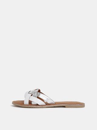 Kožené pantofle ve stříbrno-bílé barvě Tamaris