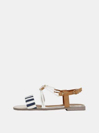 Bielo-modré pruhované sandále Tamaris