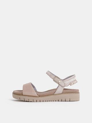 Svetloružové metalické kožené sandále Tamaris